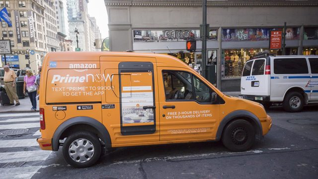 An Amazon delivery van out and about in New York City. (Richard B. Levine/Newscom)