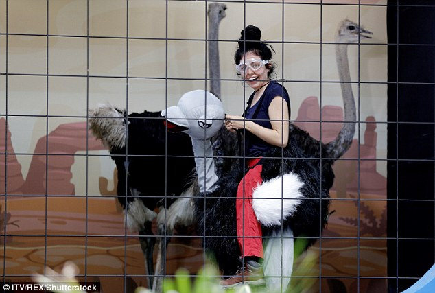 Some hangry birds: First up was Hangry Birds where she had to remove toys from a live ostrich and place it on another ostrich's neck – all in the aim of nabbing one star