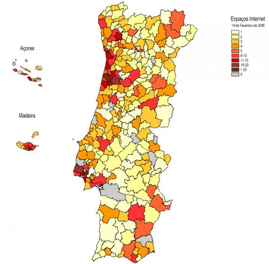 Mapa de localização de Espaços Internet por concelhos