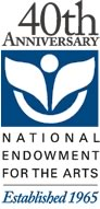 40th Anniversary NEA logo with the legend:  40th Anniversary, National Endowment for the Arts, Established in 1965