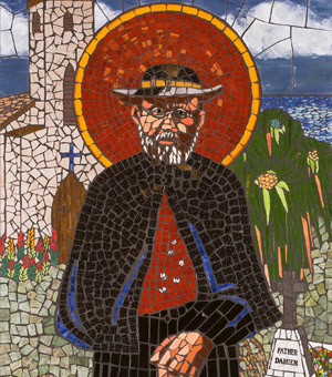 Caption: Blessed Damien de Veuster, a Belgian missionary priest famed for his work with leprosy patients in Hawaii. is depicted in a mosaic by Karen Lucas at Immaculate Conception Church in Lihue, Hawaii. Blessed Damien will be canonized at the Vatican Oct. 11. (CNS/courtesy of the Diocese of Honolulu)