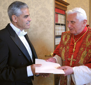 Caption: Pope Benedict XVI receives the credentials of the new U.S. ambassador to the Vatican, Miguel Diaz, at the papal villa in Castel Gandolfo, Italy, Oct. 2. (CNS/L'Osservatore Romano via Catholic Press Photo)