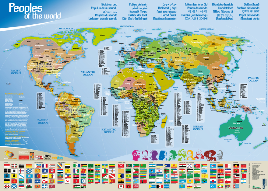 Poster map peoples of the world / carte peuples du monde