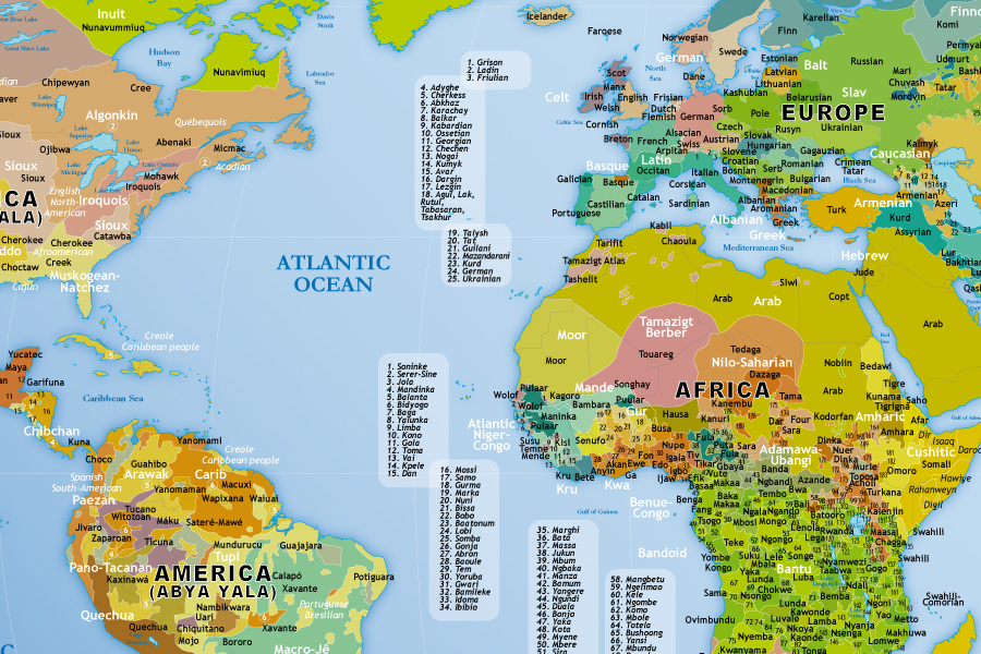 Poster map peoples of the world / carte peuples du monde (zoom)