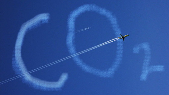 photo of the aircraft going through inscription CO2 in the sky