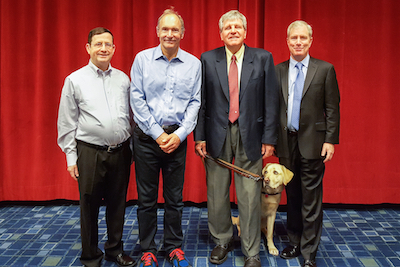 Photo of Jeff Jaffe, W3C CEO; Tim Berners-Lee, W3C Director; George Kerscher, IDPF President; Bill McCoy, IDPF Executive Director, at DigiCon May 10, 2016