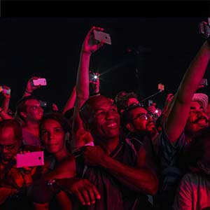 Fans cheer at the start of the Rolling Stones' free concert at the Ciudad Deportiva in Havana, March 25, 2016. Coming days after President Obama's historic visit there, the Stones were expected to draw 400,000 or more for their first show in Cuba -- or for that matter, anywhere in the Caribbean. (Mauricio Lima/The New York Times/Redux)