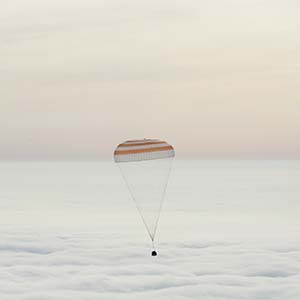 In this handout provided by NASA, The Soyuz TMA-18M spacecraft is seen as it lands with Expedition 46 Commander Scott Kelly of NASA and Russian cosmonauts Mikhail Kornienko and Sergey Volkov of Roscosmos on March 2, 2016 near the town of Zhezkazgan, Kazakhstan. Kelly and Kornienko completed an International Space Station record year-long mission to collect valuable data on the effect of long duration weightlessness on the human body that will be used to formulate a human mission to Mars. Volkov returned after spending six months on the station. (Bill Ingalls/NASA/Getty Images)