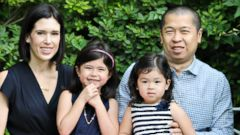 PHOTO: HOTorNOT co-founder Jim Young with wife Sarah and daughters Vivienne, right and Gemma.