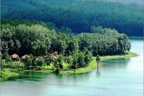 A view of the 20-acre Anantya Resort situated on a peninsula overlooking the clear blue Chittar Lake and forms a part of the larger rubber plantation of Vaikundam Estate on the foothills of the Western Ghats in Tamil Nadu's Kanyakumari district.