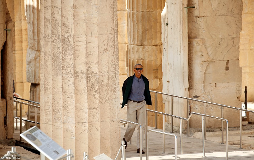 U.S. President Barack Obama (pictured) entered through the Propylaea and walked through the Parthenon temple. It was the first time he had ever visited Greece