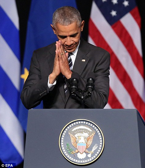 Obama hold his hands together at the end of the speech