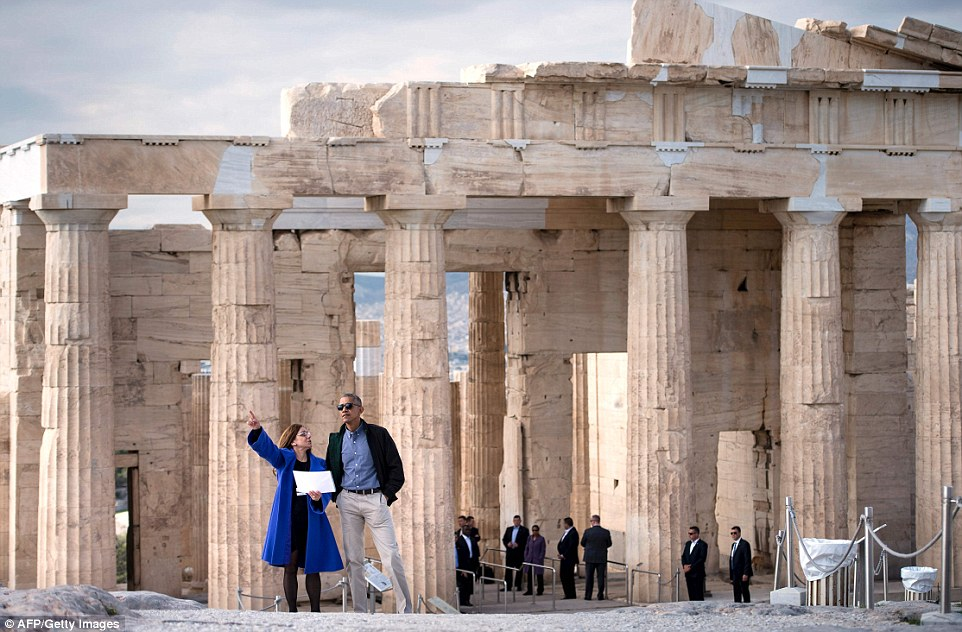 Greek guide Eleni Banou showed President Obama around the Acropolis site, which was built 2,200 years before the birth of the United States