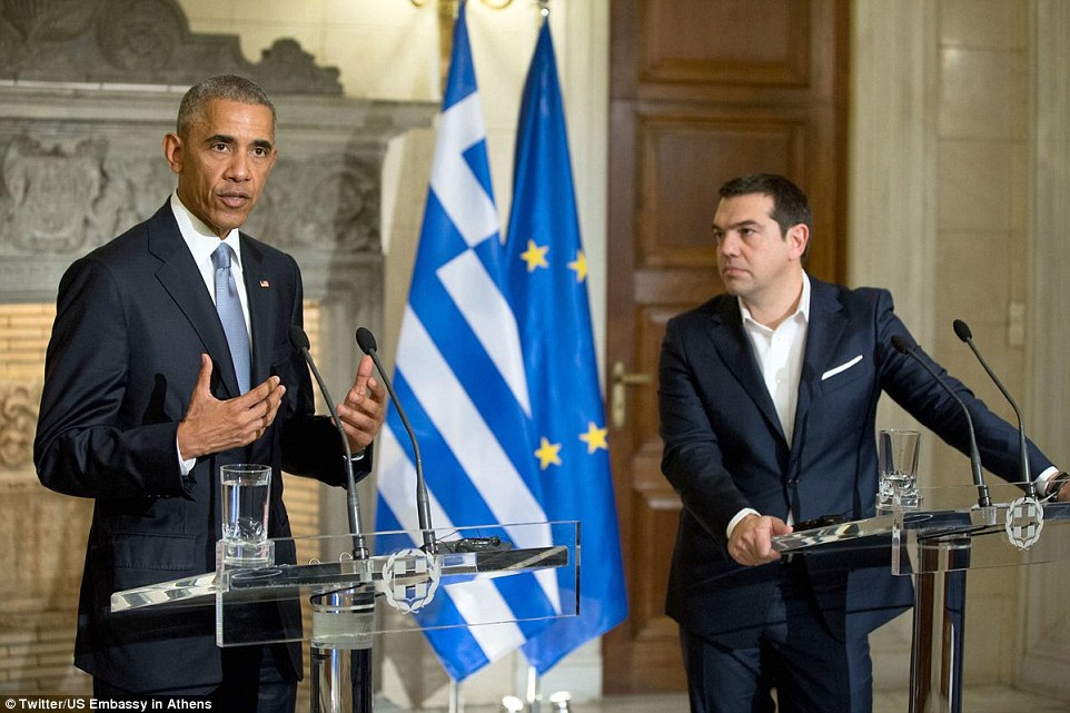 At a press conference with Greek Prime Minister Alexis Tsipras (right) the outgoing President said world leaders needed to do address people's 'very real fears' of inequality and economic dislocation caused by globalization