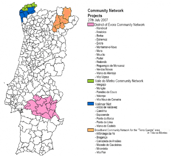 Map with the locations of Broadband Community Network projects